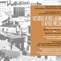 """2ème session des ateliers d'écriture """"Histoires de paillassons et autres voisinades"""" par Des Hommes et des Lieux"""